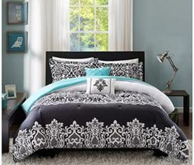 Teen Girls Bedding Damask Leopard Comforter Twin Twin Xl Bedspread Black White Teal Aqua Blue Set