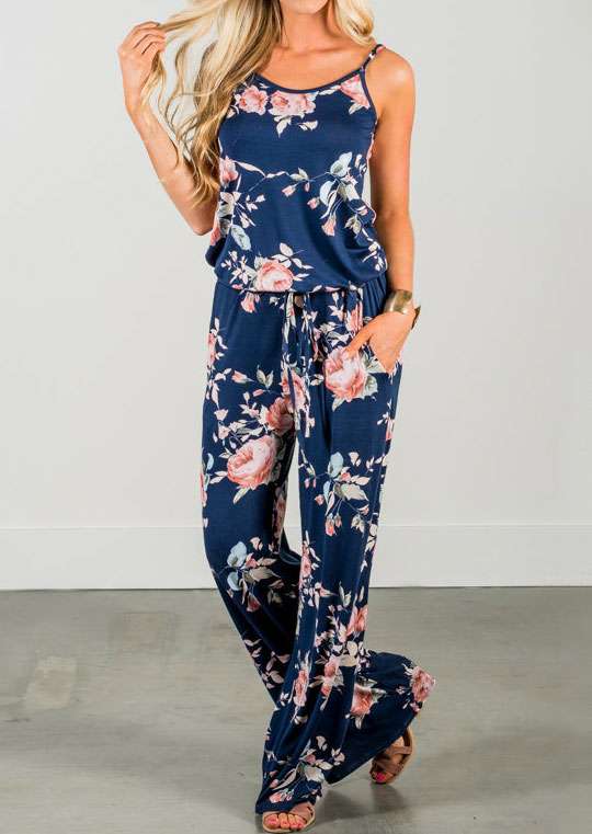 Floral Spaghetti Strap Pocket Jumpsuit without Necklace