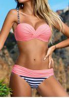 Striped Splicing Ruffled Bikini Set - Pink