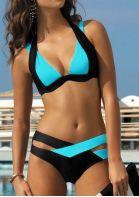 Color Block Splicing Criss-Cross Halter Bikini Set