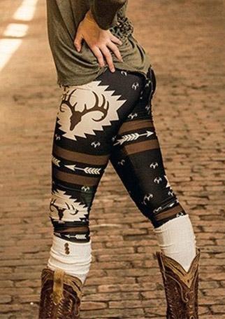Christmas Reindeer Arrow Printed Leggings