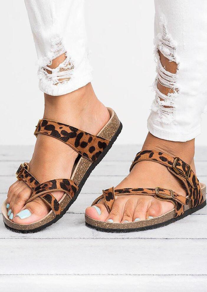 Leopard Pattern Cross Flat Slippers