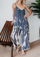 Tie Dye Spaghetti Strap Jumpsuit without Necklace