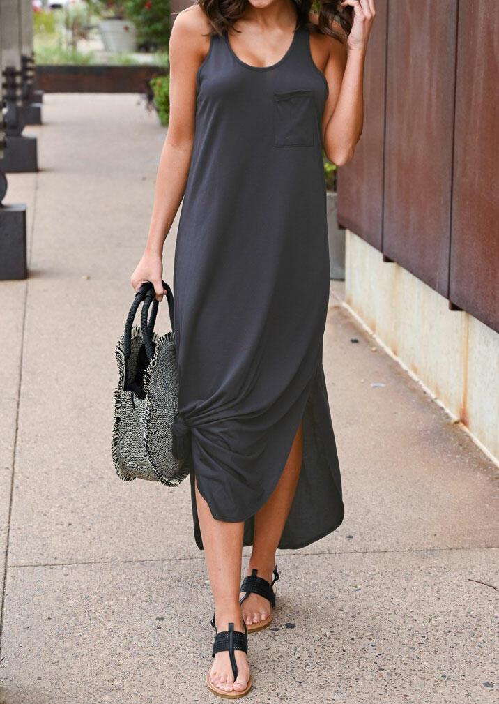 Solid O-Neck Sleeveless Pocket Maxi Dress - Dark Grey
