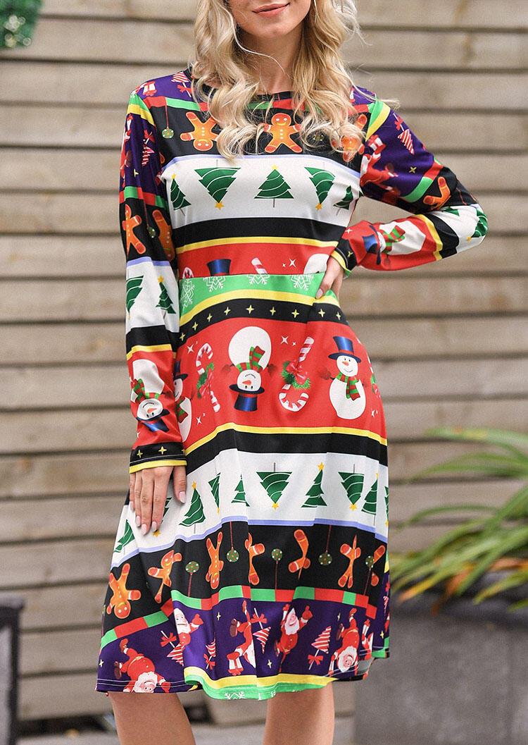 Christmas Tree Snowman Casual Dress - Multicolor