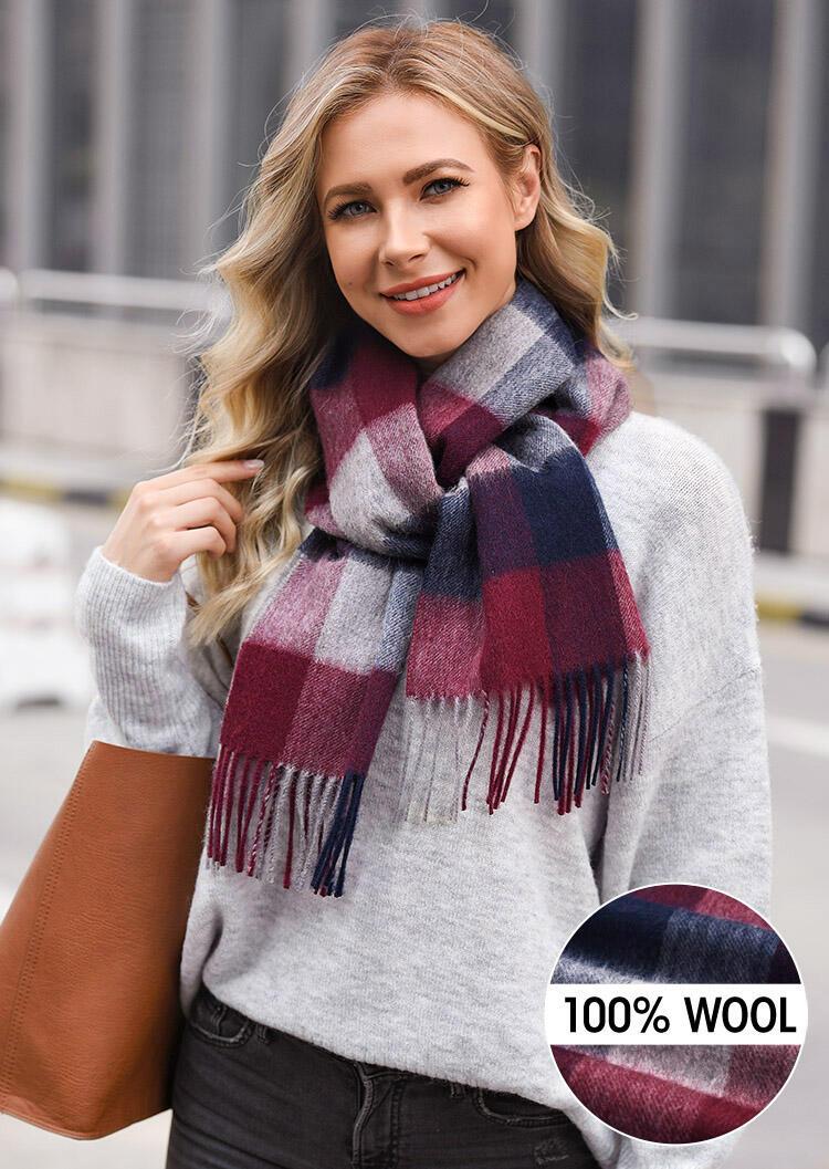 Feelily Plaid Tartan Tassel Warm 100% Wool Scarf