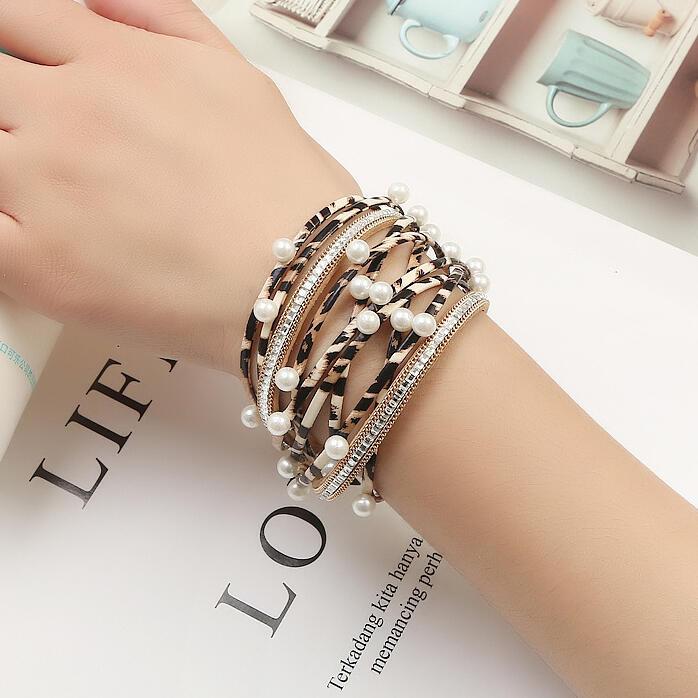 Leopard Printed Pearl Multi-Layered PU Leather Bracelet