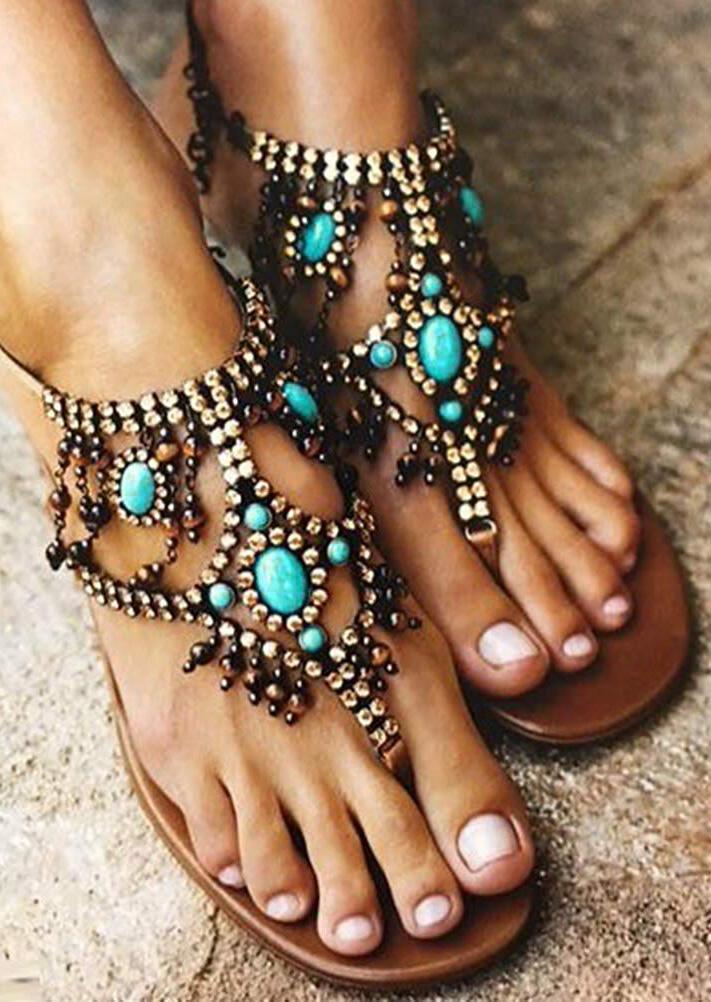 Beading Flip Flops Flat Sandals - Brown