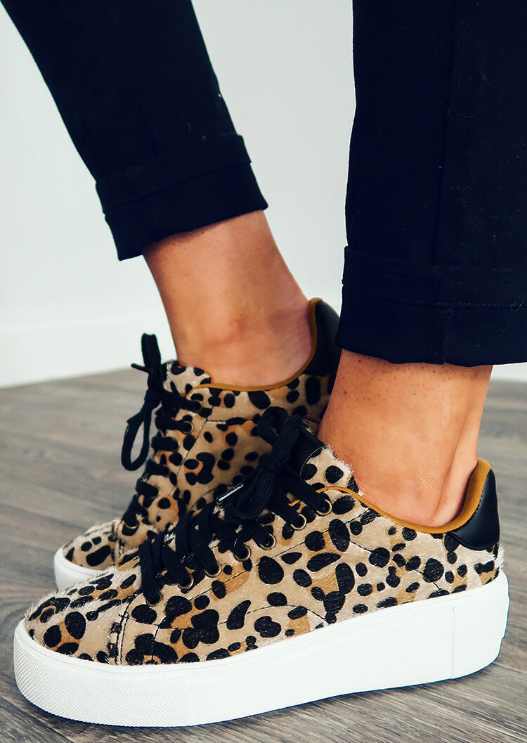 Leopard Printed Lace Up Round Toe Platform Sneakers