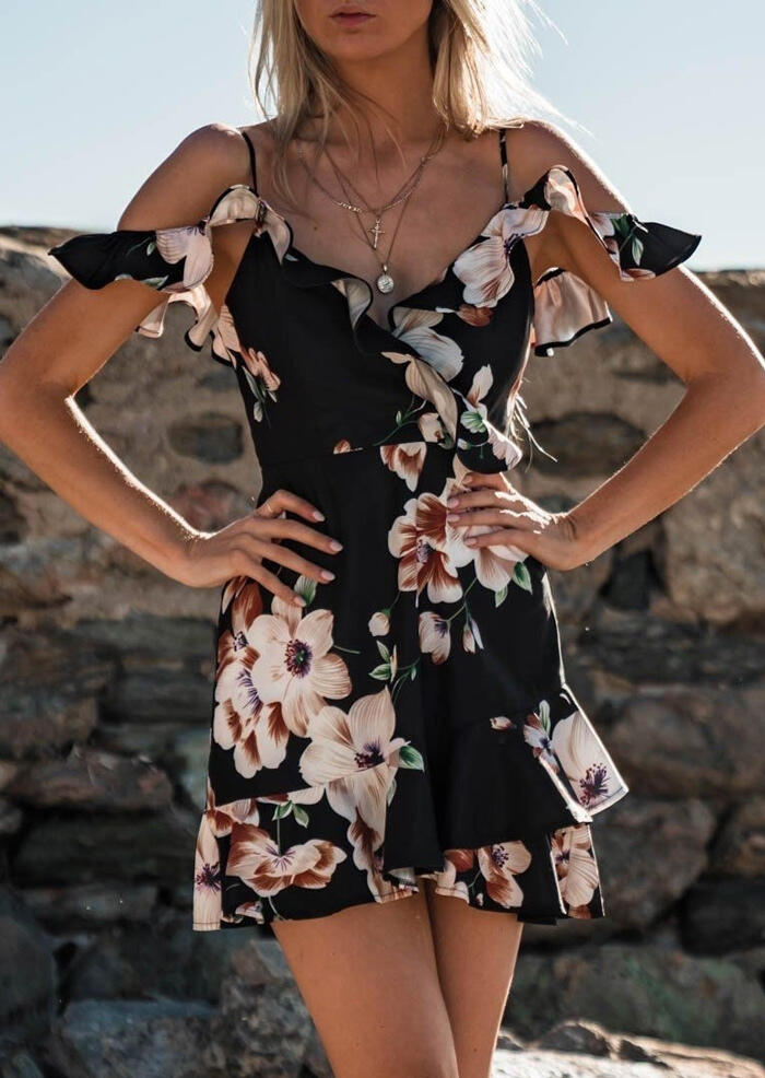 Floral Ruffled Spaghetti Strap Mini Dress without Necklace - Black