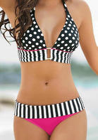 Halter Polka Dot Hollow Out Bikini Set