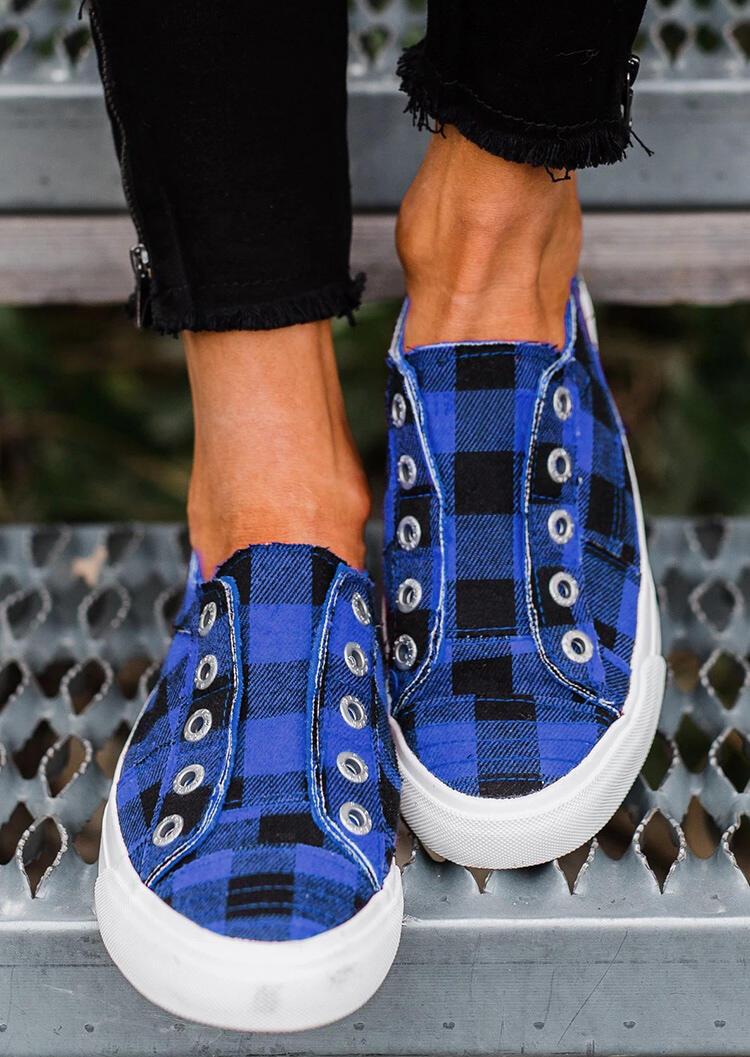 Plaid Slip-On Round Toe Flat Sneakers - Blue