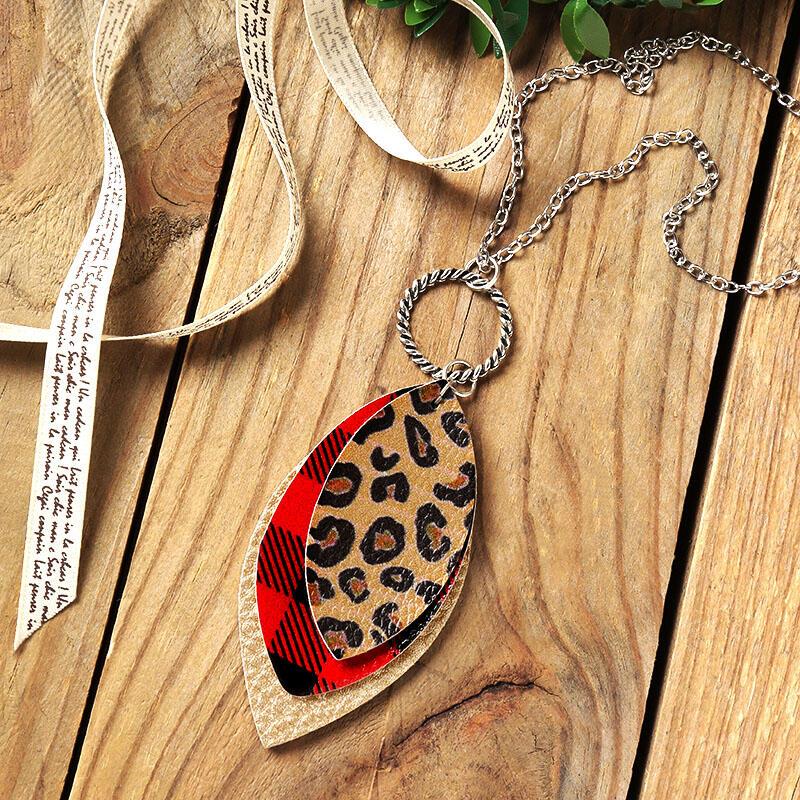 Plaid Leopard Three-Layered Necklace
