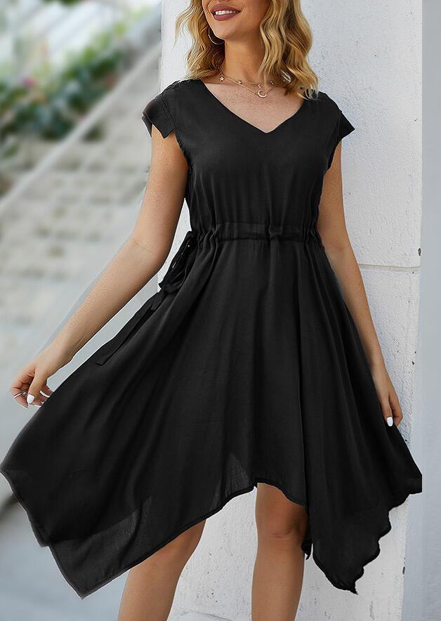 Irregular Drawstring Casual Dress without Necklace - Black