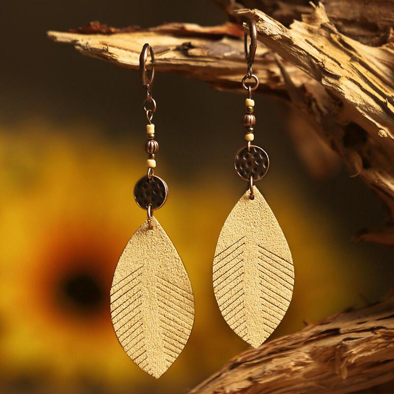 Vintage Leaf Beading Leather Earrings