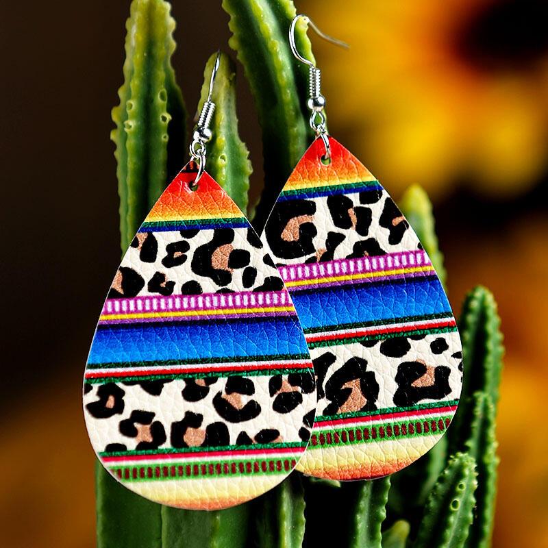 Leopard Printed Rainbow Serape Striped PU Leather Earrings