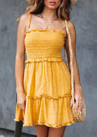 Spaghetti Strap Ruffled Tie Mini Dress without Necklace - Yellow