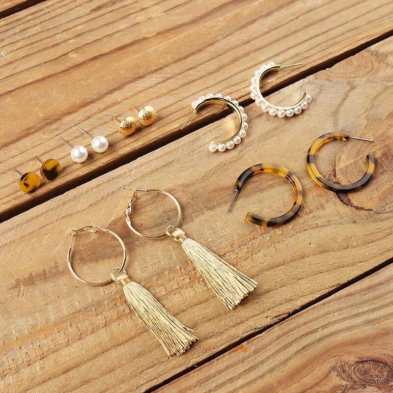 Six Pairs/Set Fashion Pearl Circle Tassel Stud Earrings