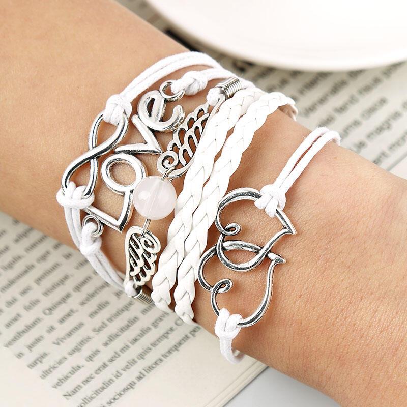 Love Bead Multi-Layered Rope Braided Bracelet