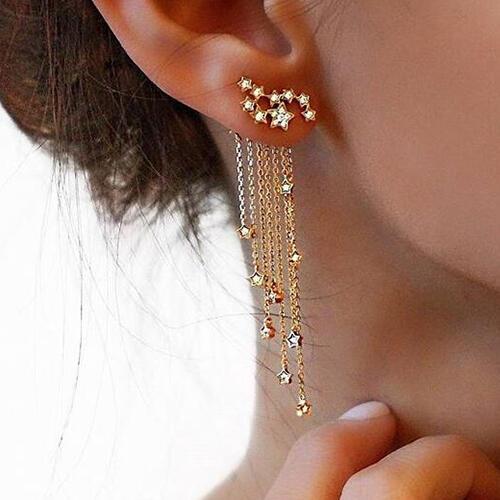Women's Fashion Shiny Star Tassel Earrings