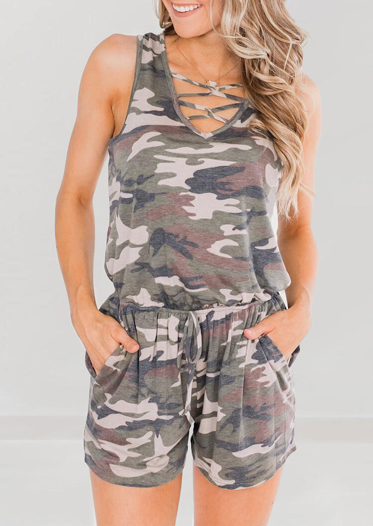 Camouflage Criss-Cross Pocket Drawstring Romper without Necklace