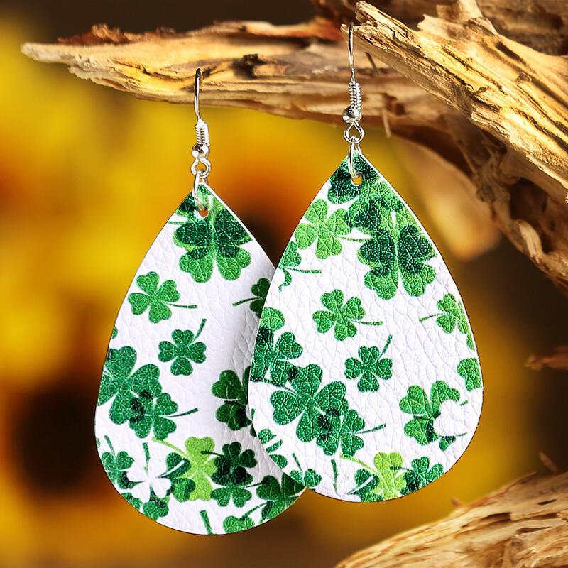 Lucky Shamrock PU Leather Earrings - Green