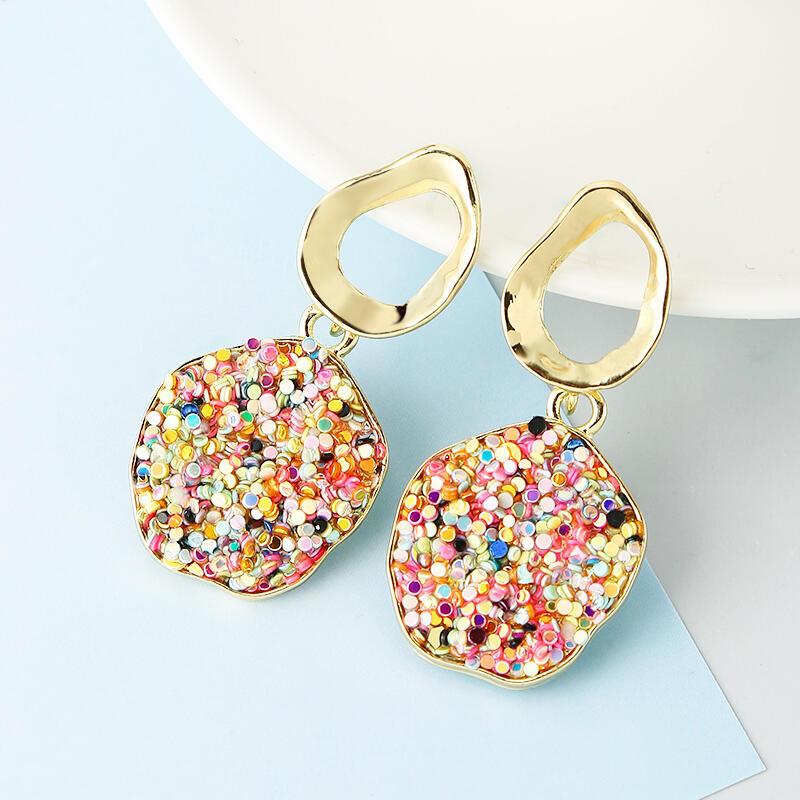 Colorful Gravel Round Pendant Earrings