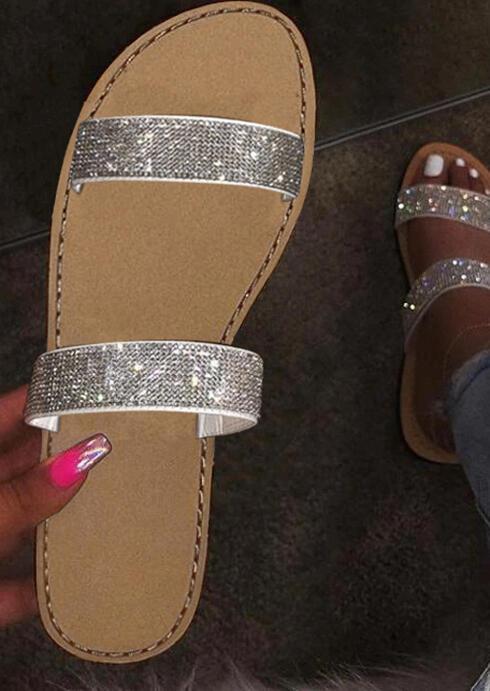 Fashion Rhinestone Flat Slippers - Silver