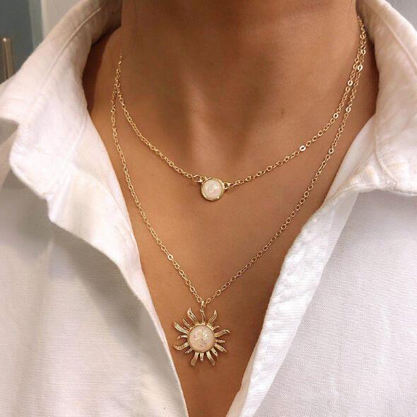Sunflower Rhinestone Dual-Layered Necklace