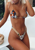 Floral Striped Halter Bikini Set