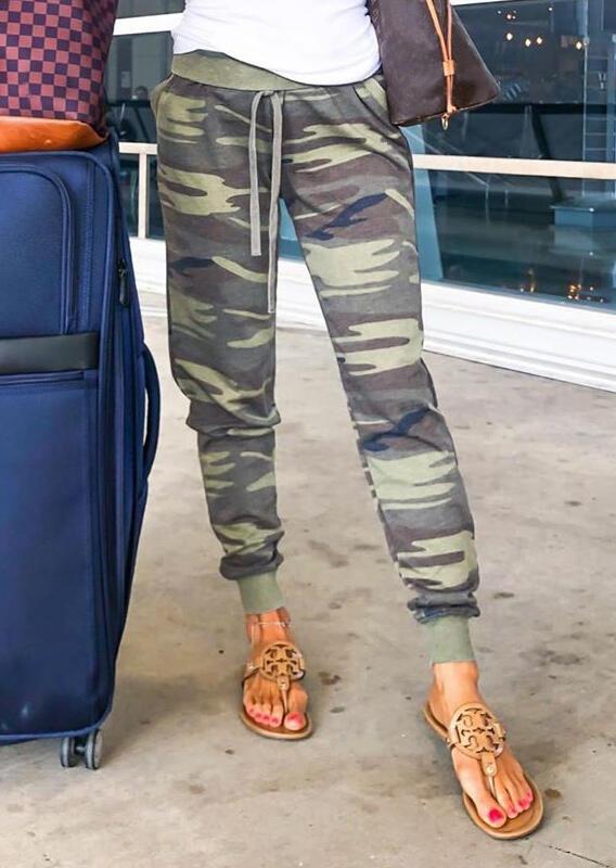 Camouflage Printed Pocket Drawstring Pants
