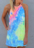Tie Dye Sleeveless O-Neck Mini Dress