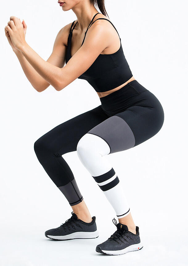 Color Block Quick-Drying Yoga Fitness Running Workout Activewear Set