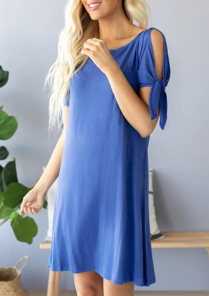 Bow Hollow Out Mini Dress - Blue