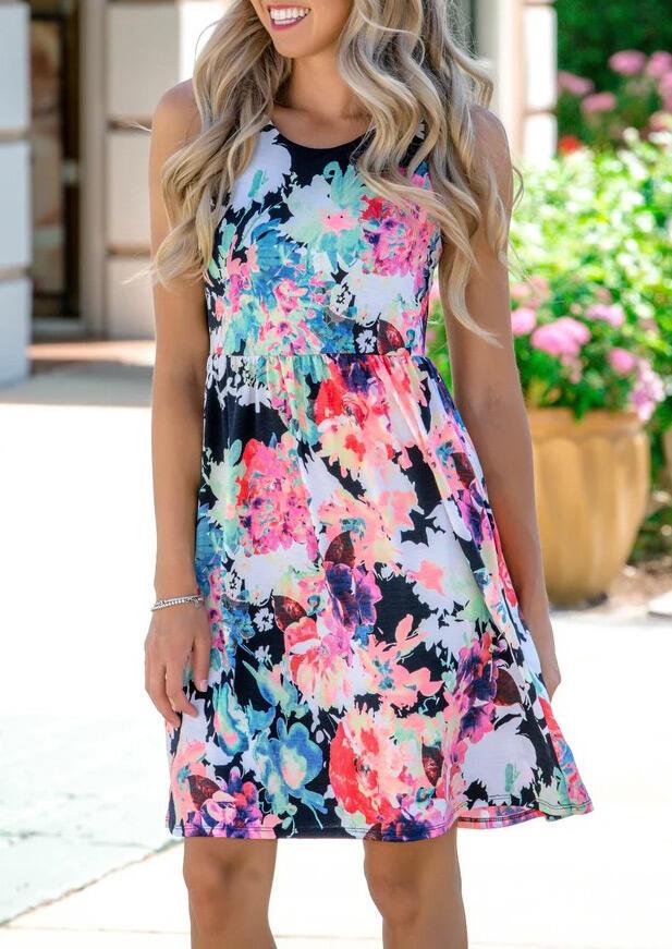 Floral Ruffled O-Neck Mini Dress