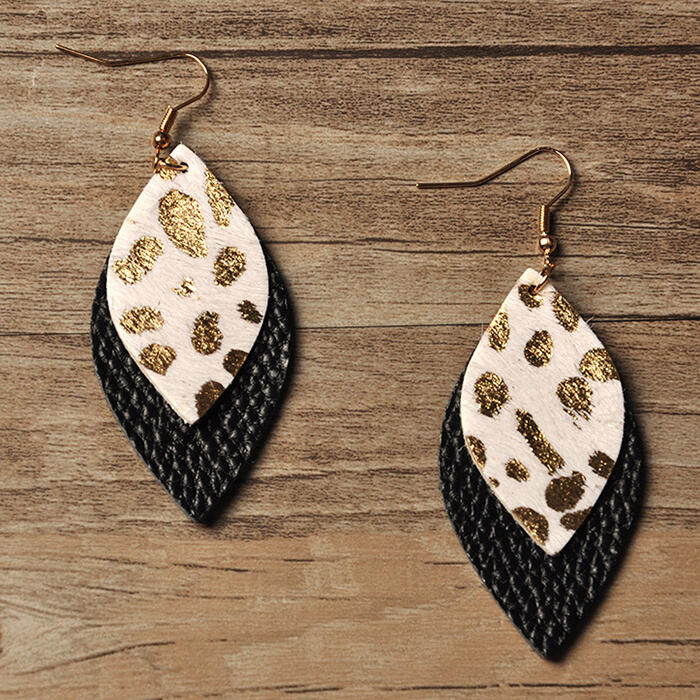 Leopard Double-Layered Leather Earrings