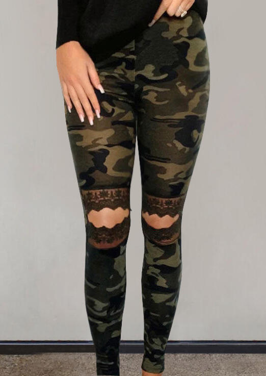 Camouflage Lace Hollow Out Skinny Leggings