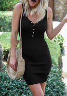 Button Sleeveless Bodycon Dress without Necklace - Black