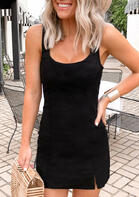 Slit Sleeveless Mini Dress - Black
