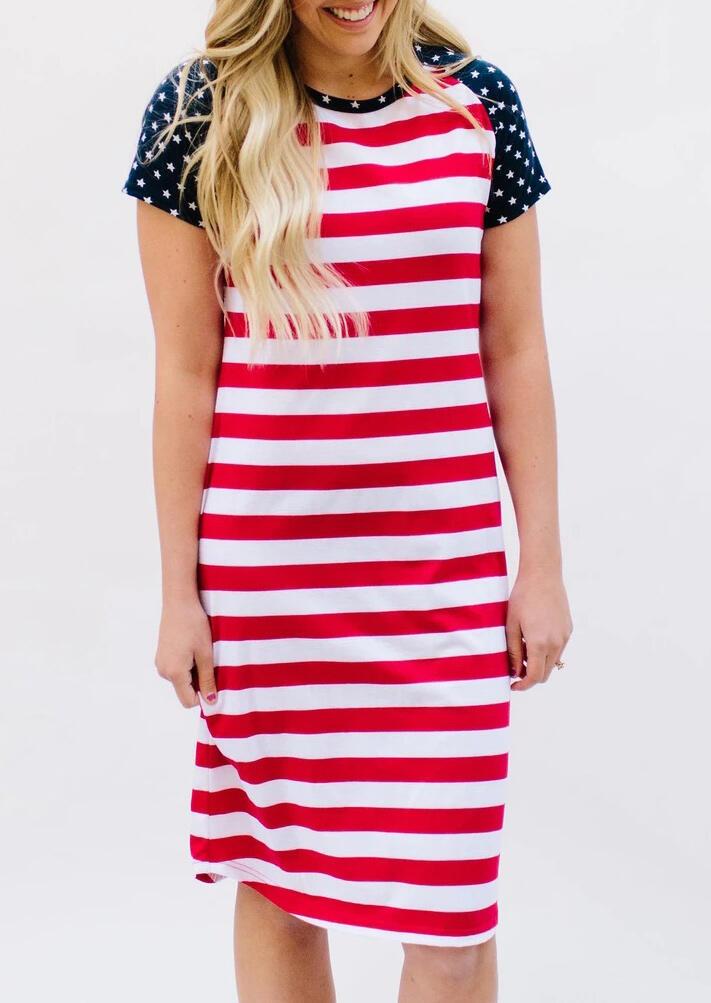 American Flag Star Striped Splicing Casual Dress