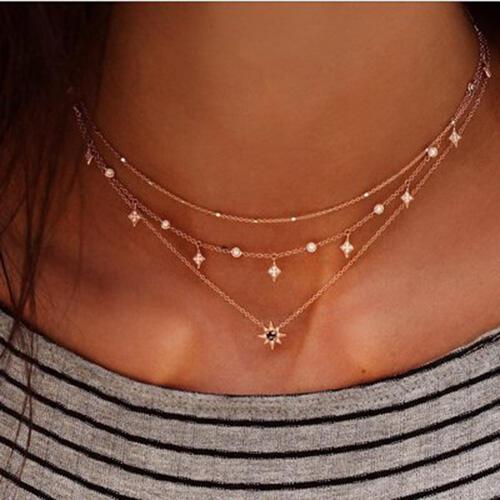 Multi-Layered Star Rhinestone Pendant Necklace