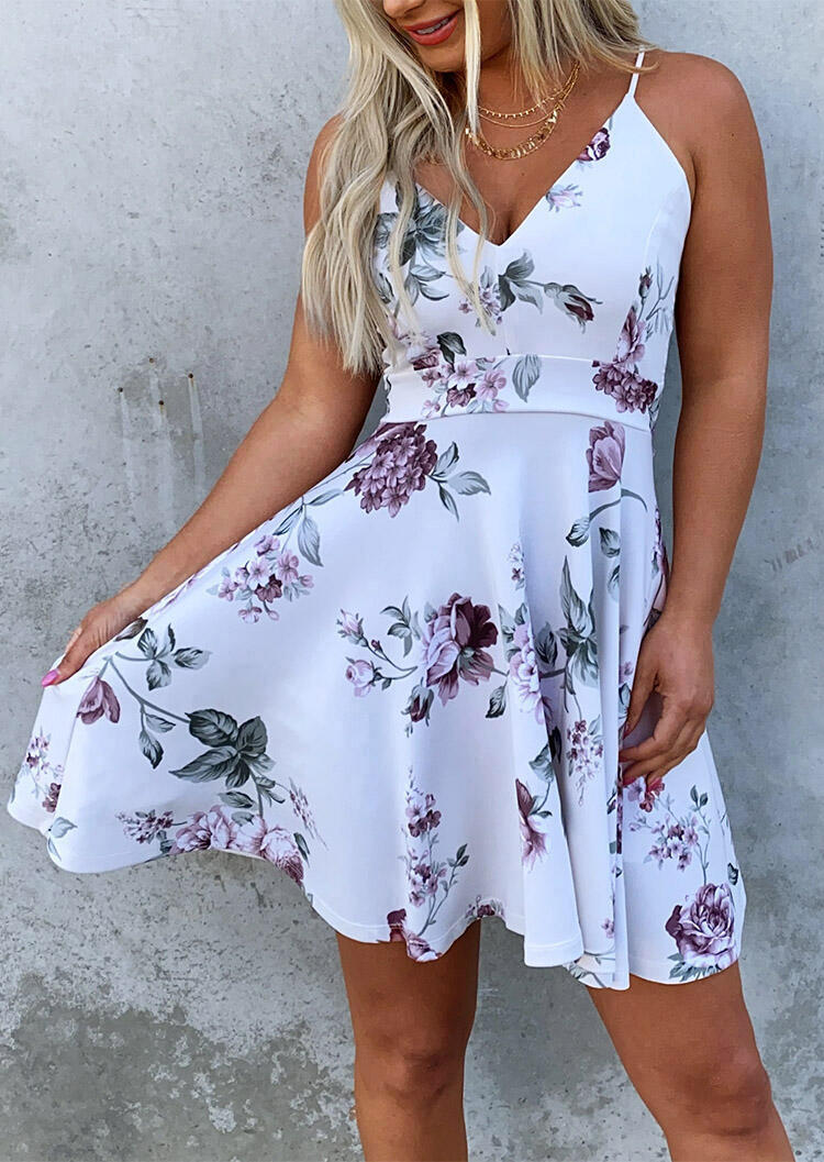 Floral Splicing Lace V-Neck Mini Dress without Necklace - White