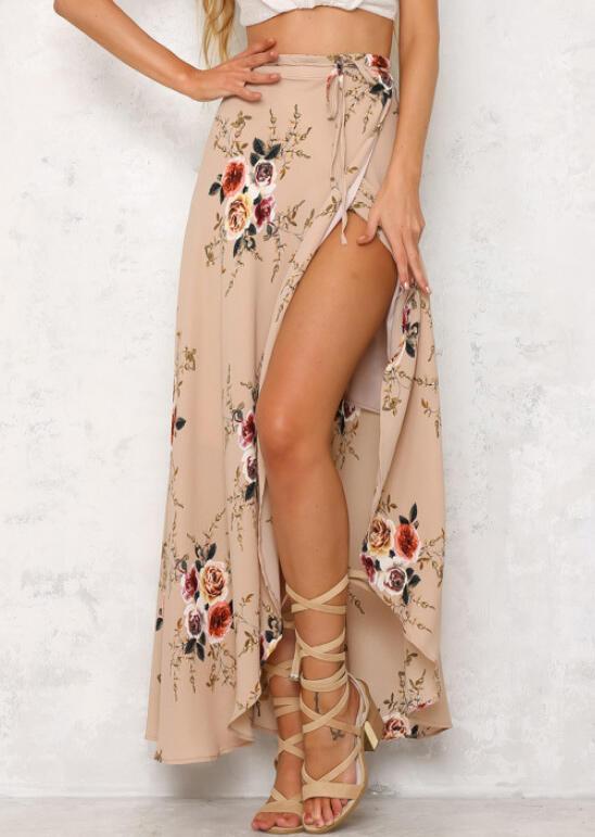 Floral Irregular Slit Tie Long Skirt -  Khaki