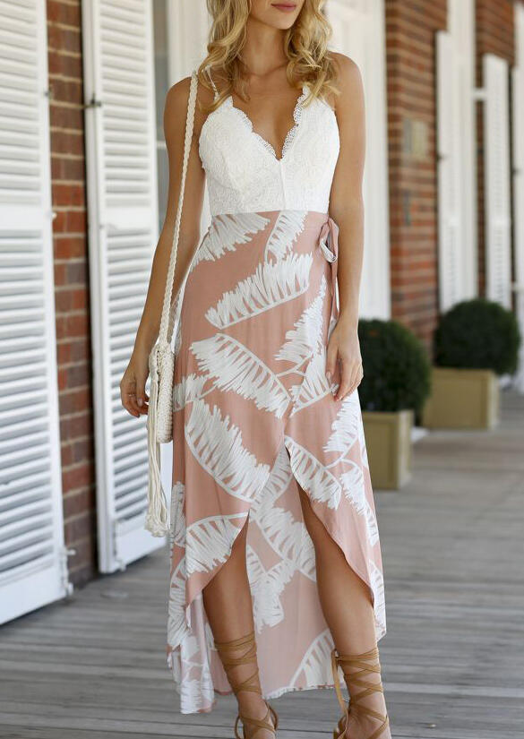 Lace Splicing Open Back Asymmetric Casual Dress - White