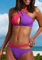 Color Block Criss-Cross Bikini Set - Purple