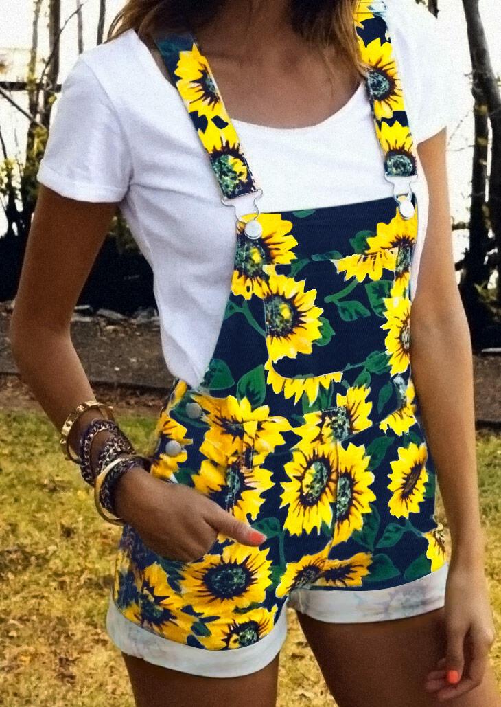 Sunflower Pocket Overalls Romper - Navy Blue