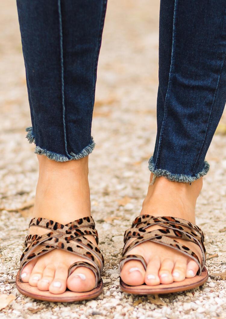 Leopard Criss-Cross Flat Sandals