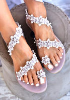 Summer Flower Round Toe Flat Sandals - Light Purple