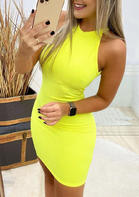 Open Back Halter Bodycon Dress - Yellow