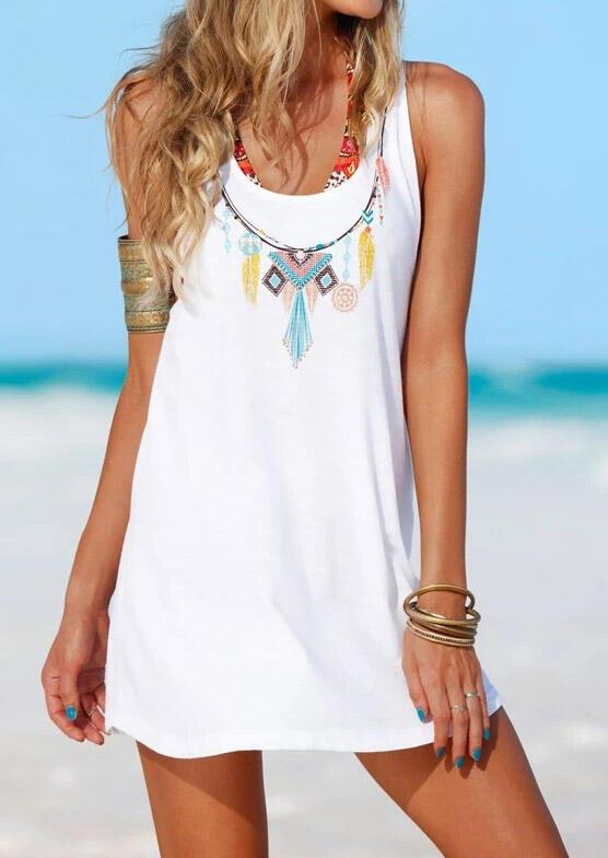 Geometric Tassel O-Neck Mini Dress - White
